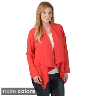 Timeless Comfort by Journee Women's Contemporary Plus Open Front Asymmetrical Lightweight Cardigan