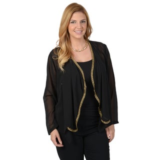 Timeless Comfort by Journee Women's Contemporary Plus Embellished Woven Open Front Cardigan