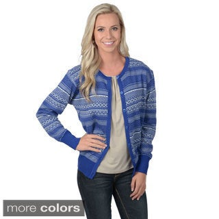 Journee Collection Women's Fairisle Print Button-up Cardigan