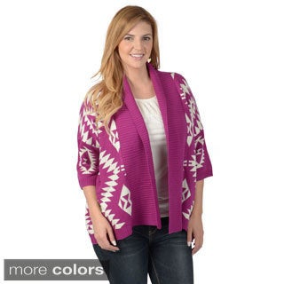 Timeless Comfort by Journee Women's Contemporary Plus Long Tribal Print Open Front Cardigan