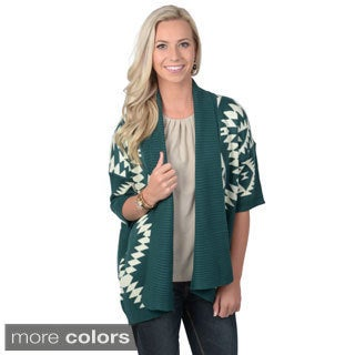 Journee Collection Women's Long Tribal Print Open Front Cardigan