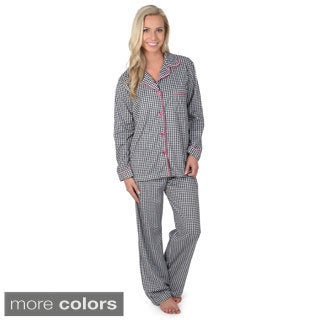 Journee Collection Women's Soft 2-piece Button-up Long Sleeve Printed Pajama Set