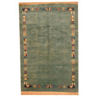Herat Oriental Indo Hand-knotted Persian Tibetan Teal/ Light Blue Wool Rug (5'9 x 8'9)