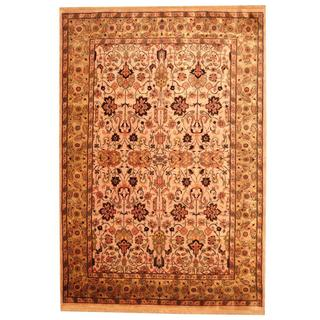 Herat Oriental Indo Hand-knotted Persian Mahal Design Beige/ Sage Wool Rug (6'5 x 9'5)