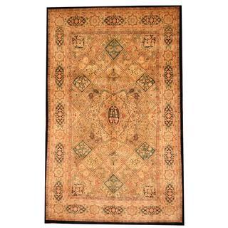 Herat Oriental Indo Hand-knotted Persian Tabriz Design Beige/ Green Wool Rug (5'10 x 9'4)