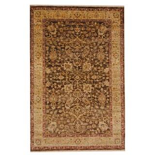 Herat Oriental Indo Tabriz Hand-knotted Vegetable Dye Brown/ Beige Wool Rug (5'5 x 8'4)