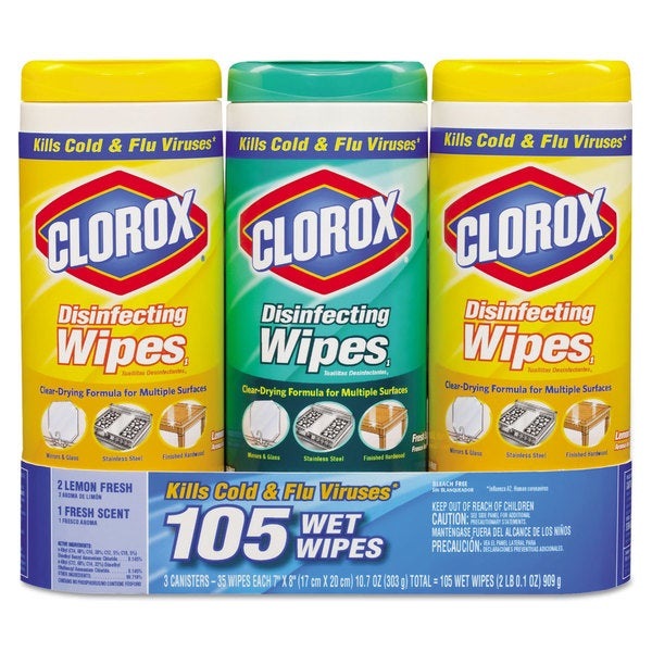 Clorox Disinfecting Wipes Value Pack, 7 x 8, Fresh Scent/Citrus Blend, 35/Canister