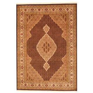 Herat Oriental Indo Hand-knotted Tabriz Black/ Beige Wool and Silk Rug (5'7 x 8')