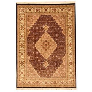 Herat Oriental Indo Hand-knotted Tabriz Black/ Ivory Wool and Silk Rug (5'6 x 7'9)