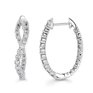 14K White Gold 1ct TDW Diamond Inside-out Oval Twist Hoop Earrings (I-J, I1-I2)