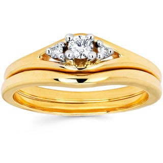 14K Yellow Gold Round-cut Diamond Contoured Bridal Set (I-J, I1-I2)
