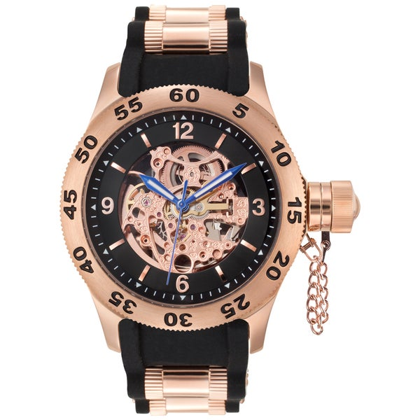 Rougois Rose Gold Men's Automatic Skeleton Naval Diver Black Watch
