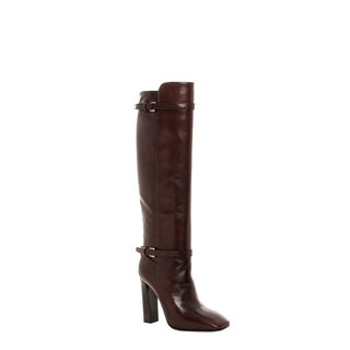 Prada Women's 'Madras' Fume Brown Leather Knee-high Boots
