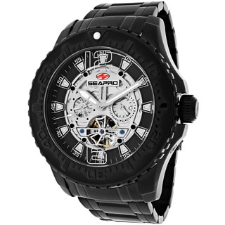 Seapro Men's SP3312 'Tidal PX1' Stainless Steel Black Skeleton Watch