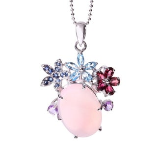 Rhodium-plated Sterling Silver Created Multi-Gemstone and Rose Quartz Necklace