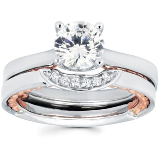14K White and Rose Gold Accent Solitaire Diamond Bridal Set (I-J, I1-I2)