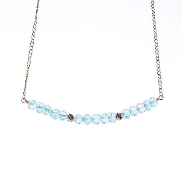 14k Goldfill December Birthstone Blue Topaz Sparkle Beads Necklace
