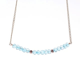 14k Goldfill December Birthstone Blue Topaz Sparkle Beads Necklace