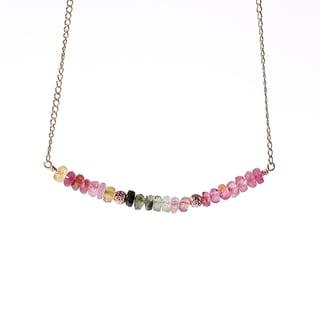14k Goldfill Tourmaline October Birthstone Sparkle Beads Necklace