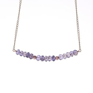 14k Gold Fill Iolite September Birthstone Sparkle Beads Necklace