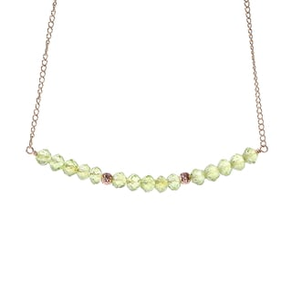 14k Goldfill August Birthstone Peridot Sparkle Beads Necklace