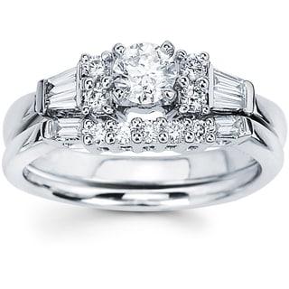 14K White Gold 7/8ct TDW Round and Baguette Diamond Bridal Set (I-J, I1-I2)