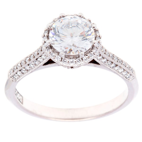 Tacori 18k White Gold 1/3TDW Diamond and CZ Engagement Ring (G-H, VS1-VS2)