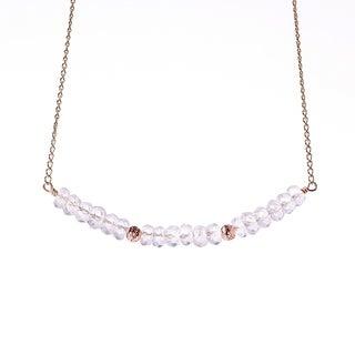 14k Goldfill April Birthstone Clear Quartz Sparkle Beads Necklace