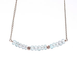 14k Goldfill March Birthstone Aquamarine Sparkle Beads Necklace