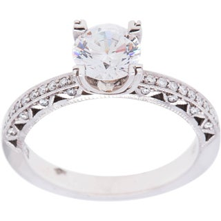 Tacori 18k White Gold 1/2ct TDW Diamond and Cubic Zirconia Engagement Ring (G-H, VS1-VS2)