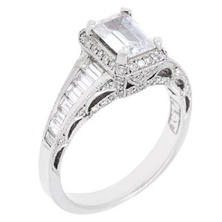 Tacori Platinum 1ct TDW Diamond and Cubic Zirconia Engagement Ring (G-H, VS1-VS2)