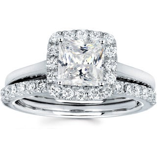 Ladies 14k White Gold 1 3/4ct TDW Halo Diamond Bridal Set (I-J, I1-I2)