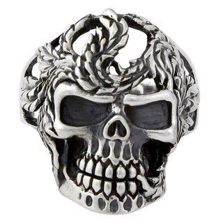 Sterling Silver Serpentine Horseman Skull Ring