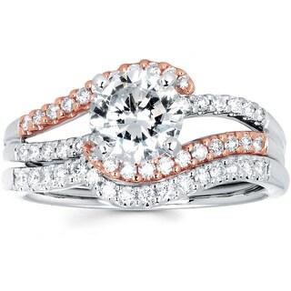 14k White and Rose Gold 1 3/8ct TDW Diamond Bridal Set (I-J, I1-I2)