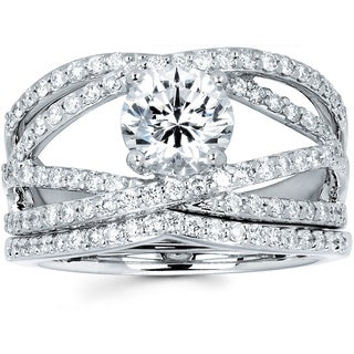 Ladies 14k White Gold 1 1/2ct TDW Diamond Bridal Set (I-J, I1-I2)
