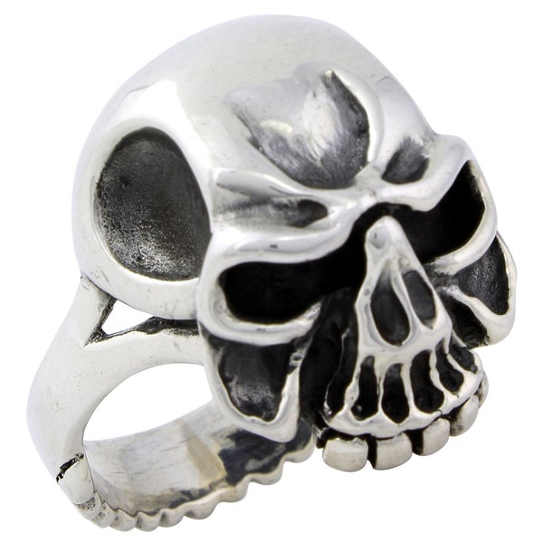 Sterling Silver Mouth of the Beast Skull Ring