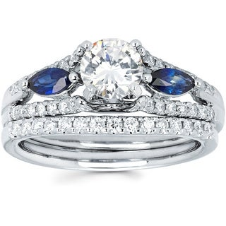 14k White Gold 1 1/6ct TDW Diamond and Blue Sapphire Bridal Set (I-J, I1-I2)