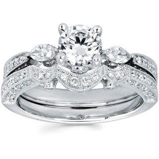 14k White Gold 1 2/5ct TDW Round and Marquise Diamond Bridal Set (I-J, I1-I2)