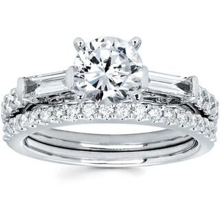 14k White Gold 1 3/4ct TDW Round and Baguette Cut Diamond Bridal Ring Set (I-J, I1-I2)