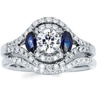 14k White Gold 4/5ct TDW Diamond and Blue Sapphire Bridal Ring Set (I-J, I1-I2)