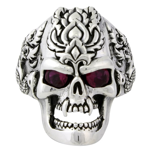 Sterling Silver Red Cubic Zirconia Dragon Rebel Skull Ring