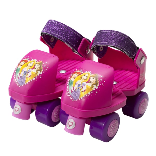 Disney Princess Kids Glitter Rollerskate Junior Size 6-12 with Knee Pads