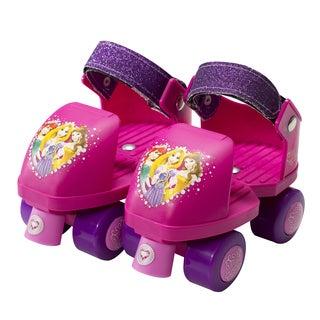 Disney Princess Kids Glitter Rollerskate Junior Size 6-12 with Knee Pads