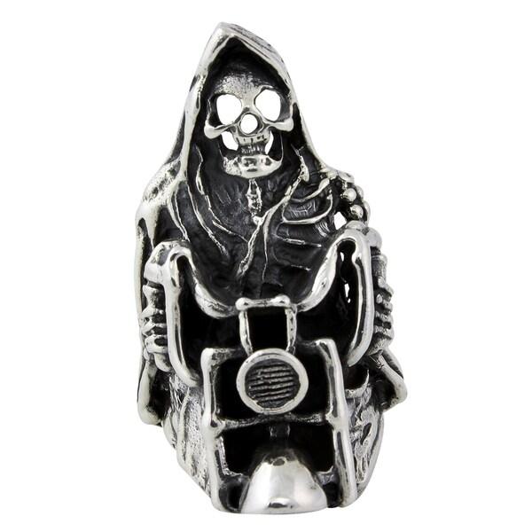 Sterling Silver Ride or Die Death Motorcycle Skull Ring