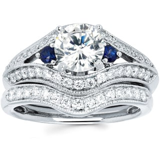 14k White Gold 1 1/2ct TDW Diamond and Blue Sapphire Bridal Ring Set (I-J, I1-I2)