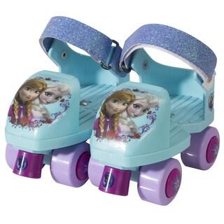 Disney Frozen Kids Glitter Rollerskate Junior Size 6-12 with Knee Pads