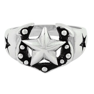 Sterling Silver Horseshoe Cowboy Star Ring