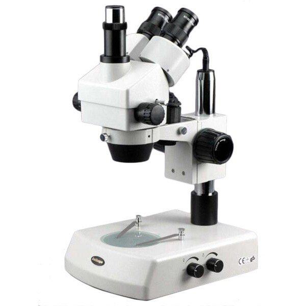 3.5x-90x Trinocular Stereo Zoom Microscope with Dual Halogen Lights and 9MP Camera