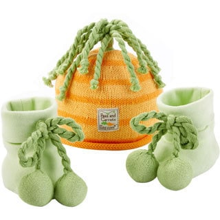 """""""Peas and Carrots"""" Cap and Booties for Babies"""