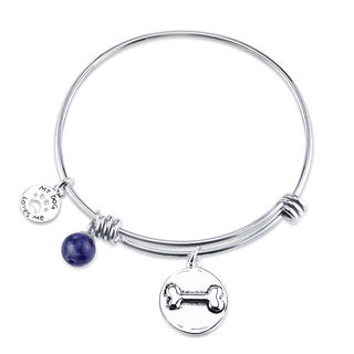 Shine Stainless Steel Sodalite Expandable 'I Love My Dog' Bangle